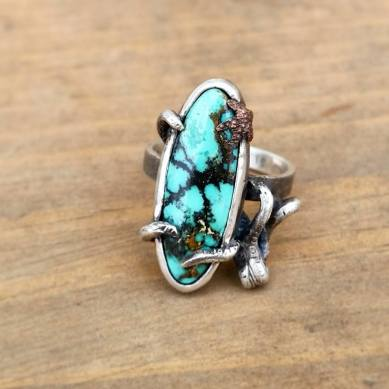 Sterling Silver Hand Crafted Octopus Ring With Turquoise Stone