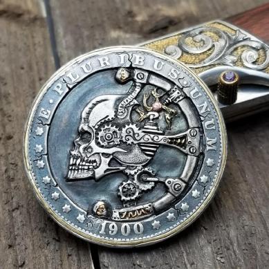 Skull Art Hand Engraved Hobo Nickel