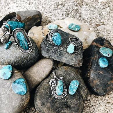 Natural Kingman Turquoise Hand Made Sterling Silver